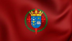 Flagge von Santiago de Compostela City Galicia, Spanien Lizenzfreies Stockfoto