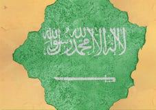 Flagge von Saudi-Arabien in der großen gebrochenen materiellen konkreten Lochfassade stockfoto