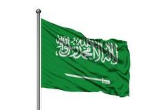 Flagge von Saudi-Arabien wellenartig bewegend in den Wind, lokalisierter wei?er Hintergrund Arabische Flagge stockfotos