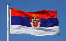 Flagge von Serbien Lizenzfreies Stockfoto