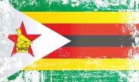 Flagge von Simbabwe, Afrika Geknitterte schmutzige Stellen lizenzfreie abbildung
