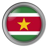 Flagge von Surinam-Runde als Knopf stockbilder