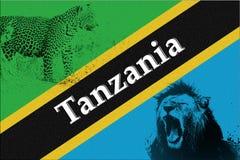 Flagge von Tansania mit Schattenbild des Löwes und des Leoparden Stockbilder