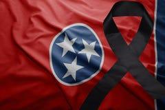 Flagge von Tennessee-Staat mit schwarzem Trauerband Lizenzfreie Stockbilder
