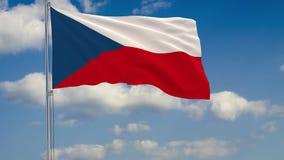 Flagge von Tschechen gegen Hintergrund des Wolkenhimmels vektor abbildung