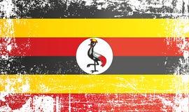 Flagge von Uganda, Afrika Geknitterte schmutzige Stellen vektor abbildung