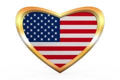 Flagge von USA in der Herzform, goldener Rahmen Lizenzfreies Stockfoto