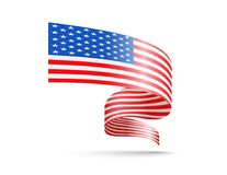 Flagge von USA in Form von wellenartig bewegenden Bändern Vektor Abbildung