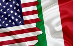 Flagge von USA und Flagge von Italien Stockfotografie