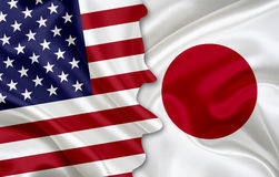 Flagge von USA und Flagge von Japan Stockfotografie