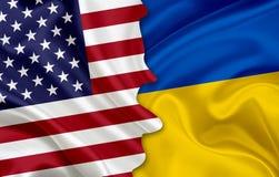 Flagge von USA und Flagge von Ukraine Stockfoto