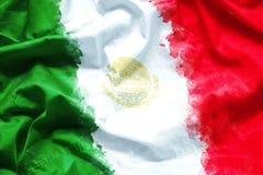 Flagge von Vereinigten Mexikanischen Staaten Mexiko durch Aquarellpinsel auf Segeltuchgewebe, Schmutzart Lizenzfreies Stockbild