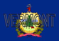 Flagge von Vermont-Wort Lizenzfreies Stockfoto