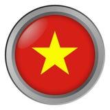 Flagge von Vietnam-Runde als Knopf stockfotos