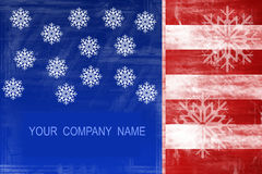 Flaggeauszugsauslegung mit Schneeflocken Stockfotos