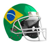 Flagged Brazil American football helmet. Isolated on a white background with detailed clipping path Stock Image
