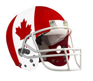 Flagged Canada American football helmet. Isolated on a white background with detailed clipping path Stock Photos