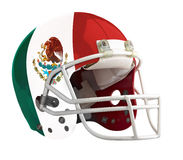 Flagged Mexico American football helmet. Isolated on a white background with detailed clipping path Royalty Free Stock Images