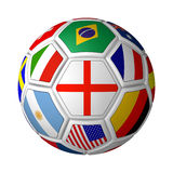 Flagged Soccer Ball. Rendered soccer ball with english flag in the center Stock Image