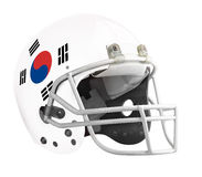 Flagged South Korea American football helmet. Isolated on a white background with detailed clipping path royalty free stock photo