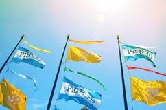 Flaggen über San Francisco-` s Pier 39 lizenzfreie stockfotos