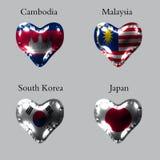 Flaggen der asiatischen Länder Die Flaggen von Kambodscha, Malaysia, Südkorea, Japan auf einem Luftball in Form eines Herzens gem stock abbildung
