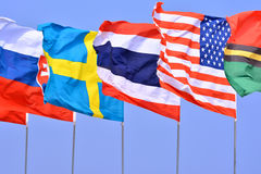 Flaggen an der internationalen Tätigkeit Lizenzfreies Stockbild