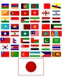 Flaggen der Länder von Asien Stockbild