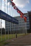 Flaggen der Mitgliedsstaaten des Europarats, Straßburg, Frankreich Lizenzfreie Stockfotos