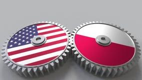 Flaggen der USA und des Polens auf Zahngetrieben Begriffs-Wiedergabe 3D der internationalen Zusammenarbeit lizenzfreie abbildung