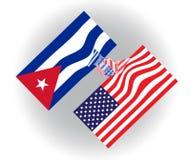 Flaggen der Vereinigten Staaten von Amerika und Kubas, die Hände, Zeitgenosse und Zukunftzusammenarbeit und -teamwork rütteln Stockbild