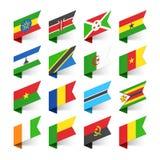 Flaggen der Welt, Afrika Stockbilder