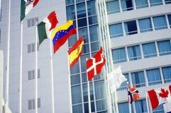 Flaggen der Welt im Brunnen-Bleu-Hotel in Miami, FL Stockfoto