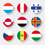 Flaggen der Welt, runde Knöpfe Lizenzfreie Stockfotografie