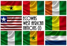 Flaggen der Wirtschaftsgemeinschaft des Teils der Westafrikanischer Staats-(ECOWAS) Stockbilder
