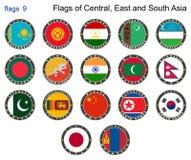 Flaggen der Zentrale, des Ostens und des Südasiens Flaggen 9 Lizenzfreies Stockbild