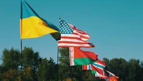 Flaggen des unterschiedlichen Zustandseinflusses auf Wind Viele Flaggen von den verschiedenen Ländern, die im Wind flattern stock video