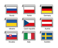 Flaggen eingestellte Aufkleber Stockfoto