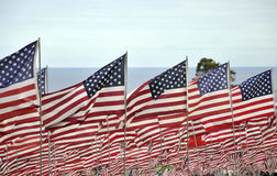 Flaggen fliegen für Opfer von 9/11 attacts Lizenzfreies Stockbild