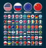 Flaggen im Kreis unter Glas Lizenzfreie Stockfotos