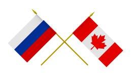 Flaggen, Kanada und Russland Stockfotos