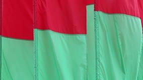 Flaggen rot und grüne Farben, die im Wind flattern stock footage