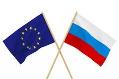 Flaggen Russland und EU Lokalisierte Illustration 3d Lizenzfreie Stockfotografie