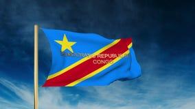 Flaggen-Schieberart des Demokratischen Republiken Kongo stock video footage
