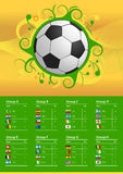Flaggen und Ball der Fußball-Meisterschaft 2014 stock abbildung
