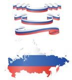 Flaggen und Karte von Russland Stockfoto