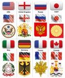 Flaggen und Mäntel von Weltmächten Stockfoto