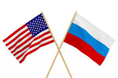 Flaggen USA und Russland Lokalisierte Illustration 3d Stockbilder