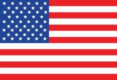 Flaggen-Vektor-Illustration der Vereinigten Staaten von Amerika auf weißem Hintergrund Lizenzfreie Stockbilder
