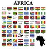 Flaggen von Afrika Stockfotos